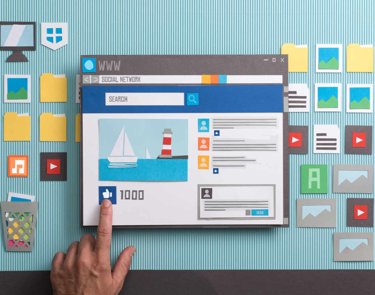 Social media engagement illustration showing cutouts and finger moving elements around